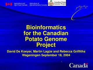 Bioinformatics for the Canadian Potato Genome Project