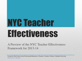 NYC Teacher  Effectiveness