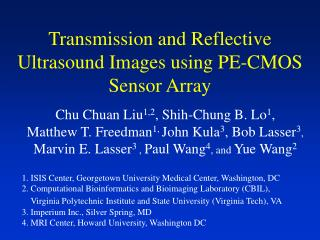 Transmission and Reflective Ultrasound Images using PE-CMOS Sensor Array