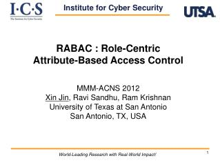 RABAC : Role-Centric  Attribute-Based Access Control MMM-ACNS  2012