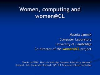 Women, computing and women@CL