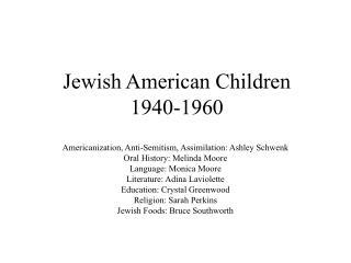 Jewish American Children 1940-1960