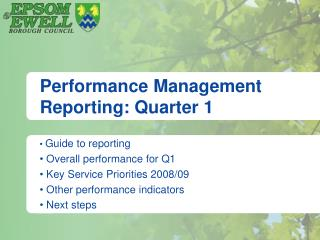 Performance Management Reporting: Quarter 1