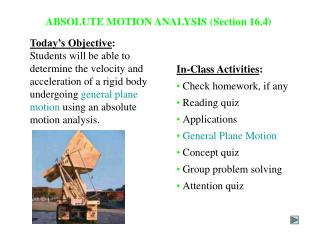 ABSOLUTE MOTION ANALYSIS (Section 16.4)