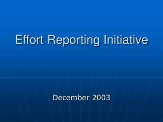 Effort Reporting Initiative
