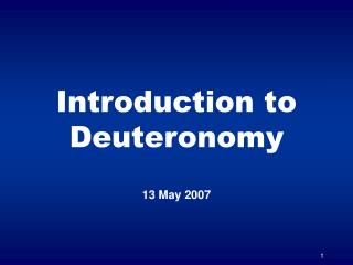 Introduction to Deuteronomy