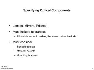 Specifying Optical Components