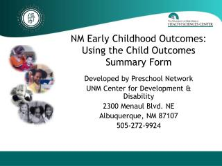 NM Early Childhood Outcomes: Using the Child Outcomes Summary Form