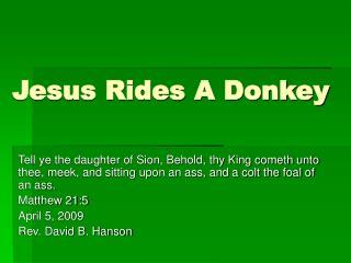Jesus Rides A Donkey