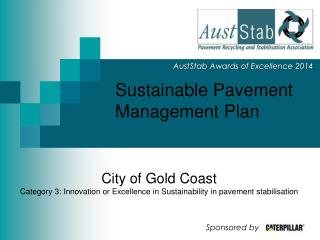 Sustainable Pavement Management Plan