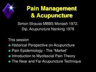 Pain Management  & Acupuncture