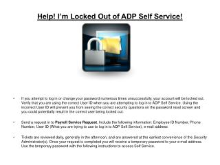 Help! I'm Locked Out of ADP Self Service!