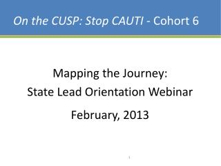On the CUSP: Stop CAUTI -  Cohort 6