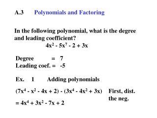A.3 Polynomials and Factoring