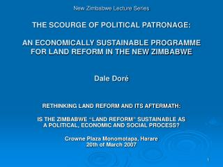 RETHINKING LAND REFORM AND ITS AFTERMATH: