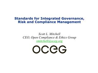 Standards for Integrated Governance, Risk and Compliance Management