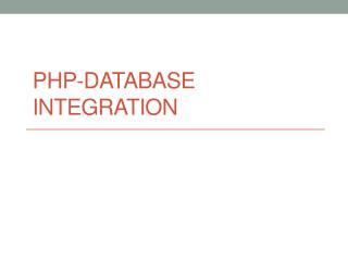 PHP-Database Integration