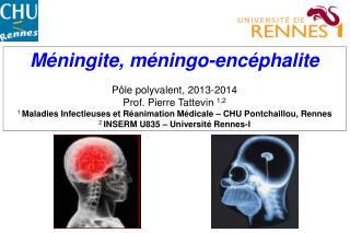 Méningite, méningo-encéphalite Pôle polyvalent, 2013-2014 Prof. Pierre Tattevin  1,2
