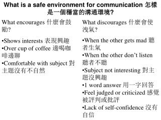 What is a safe environment for communication  怎樣是一個穩當的溝通環境 ?