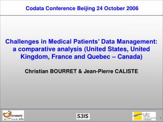 Codata Conference Beijing 24 October 2006