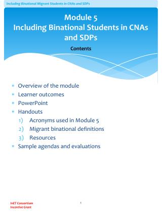 Module 5 Including Binational Students in CNAs and SDPs Contents