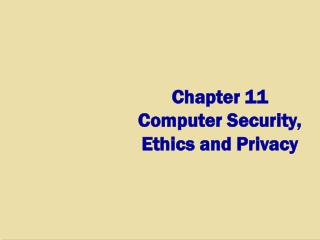Chapter 11 Computer Security,  Ethics and Privacy