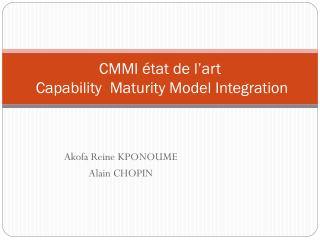 CMMI état de l'art Capability Maturity  Model  Integration