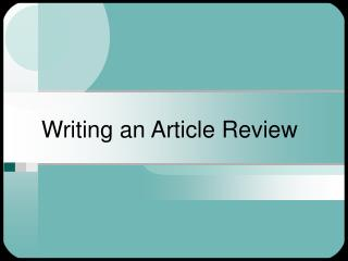 Writing an Article Review