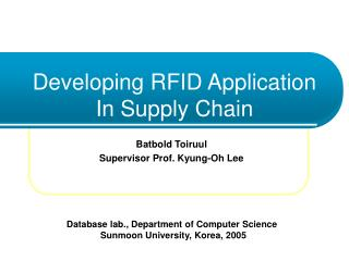 Developing RFID Application In Supply Chain