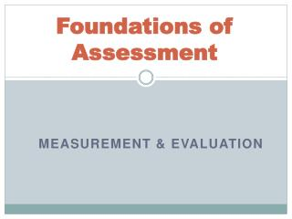 Foundations of Assessment