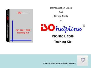 Demonstration Slides And Screen Shots for
