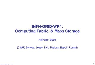 INFN-GRID-WP4: Computing Fabric  & Mass Storage Attivita' 2003