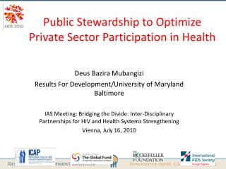 Public Stewardship to Optimize Private Sector Participation in Health