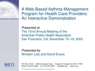 A Web-Based Asthma Management Program for Health Care Providers: An Interactive Demonstration