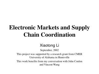 Electronic Markets and Supply Chain Coordination