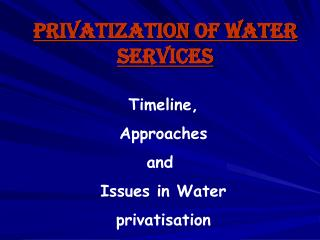 Privatization of water services