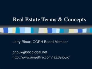 Real Estate Terms & Concepts
