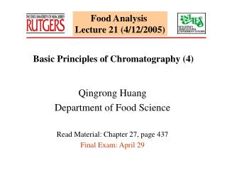 Food Analysis  Lecture 21 (4/12/2005)