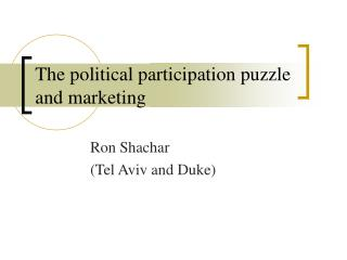 The political participation puzzle and marketing