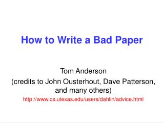 How to Write a Bad Paper