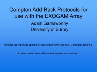 Compton Add-Back Protocols for use with the EXOGAM Array
