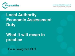 Local Authority Economic Assessment Duty  What it will mean in practice