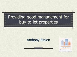 Providing good management for buy-to-let properties
