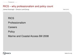RICS – why professionalism and policy count