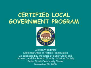 CERTIFIED LOCAL GOVERNMENT PROGRAM