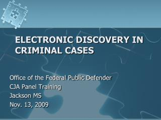 Electronic Discovery in Criminal Cases