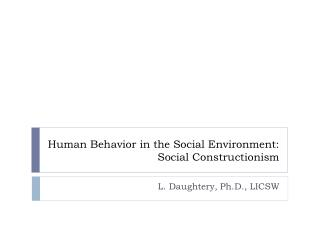 Human Behavior in the Social Environment: Social Constructionism