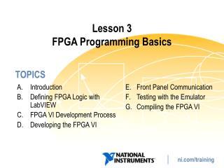 Lesson 3 FPGA Programming Basics