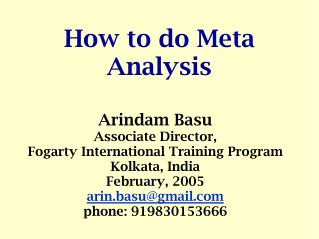 How to do Meta Analysis