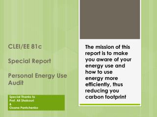 CLEI/EE 81c Special Report Personal Energy Use Audit